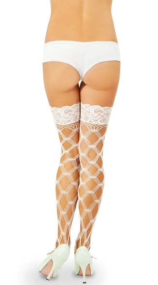 Multi Fence Net Thigh High with Lace Top