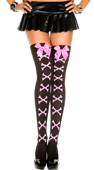 Opaque Crossbones Thigh Highs with Bow