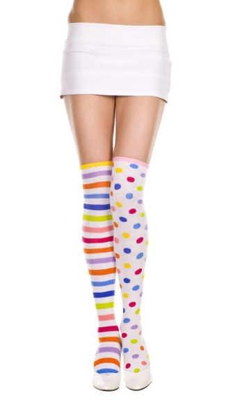 Neon Rainbow Thigh Highs
