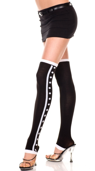 Dots and Stripe Leg Warmers, Acrylic Thigh High Leg Warmer with Polka Dot and Striped Sides, Tuxedo Leg Warmers