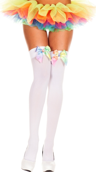 Rainbow Bow Stockings, Rainbow Satin Bow Opaque Thigh Hi
