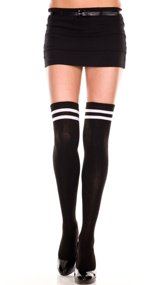 Double Striped Thigh High, Acrylic Thigh Hi With Double Stripes Top, Striped Top Thigh Highs