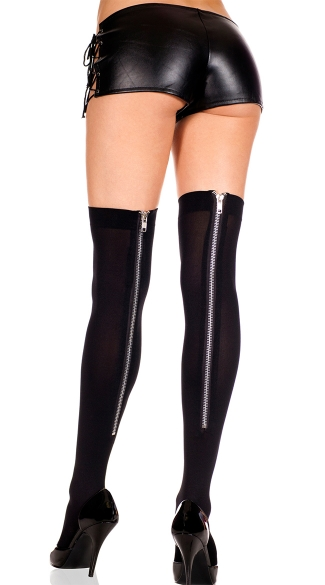 Zipper Back Stockings, Thick Spandex Stockings With Zipper