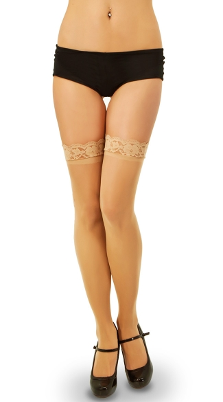 Floral Side Seam Thigh Highs