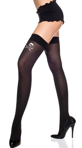 Opaque Thigh High with Crossbone