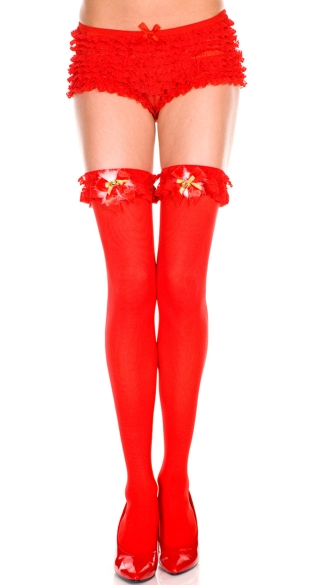Jingle Bells Thigh High, Opaque Ruffle Top Thigh Hi With Jingle Bells And Bow, Holiday Hosiery, Holiday Thigh High