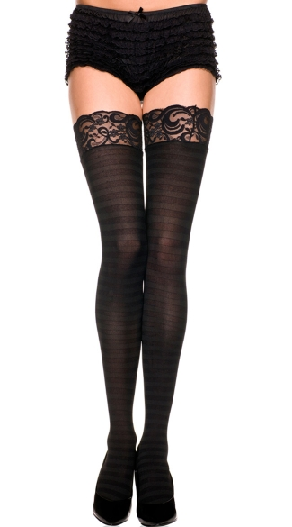 Opaque Striped Lace Top Thigh Highs