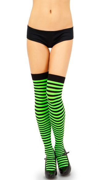 Opaque Striped Thigh Highs, Stripe Thigh High, Duotone Thigh High, Dual Color Thigh High