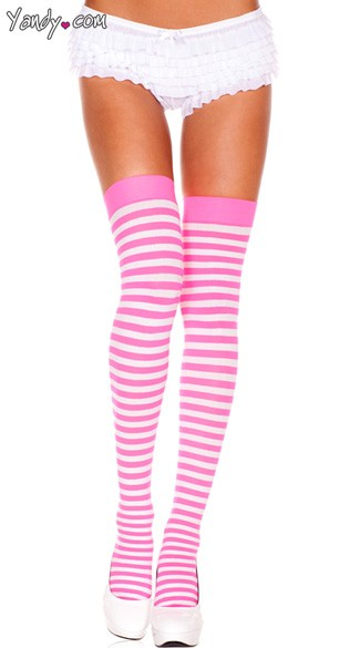 Opaque Striped Thigh Highs