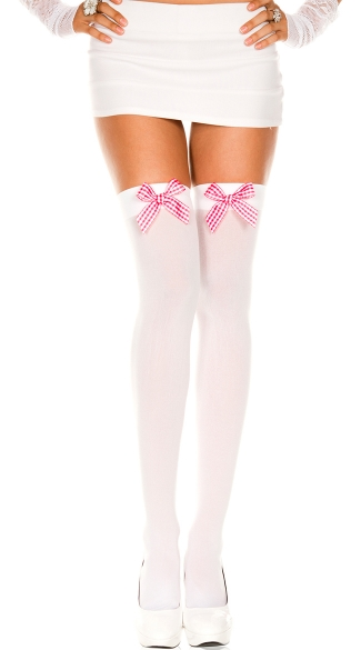 Opaque Thigh Highs with Checker Bow
