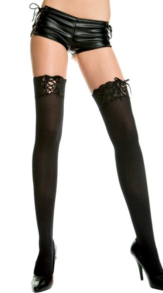 Opaque Thigh Highs with Lace Up Top