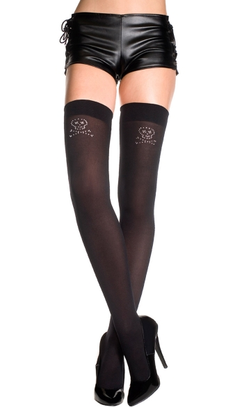 Opaque Thigh Highs with Silver Crossbone
