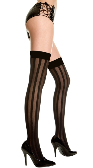 Sheer Stripes Thigh Highs, Opaque and Sheer Striped Thigh Highs, Vertical Striped Sheer Thigh Highs