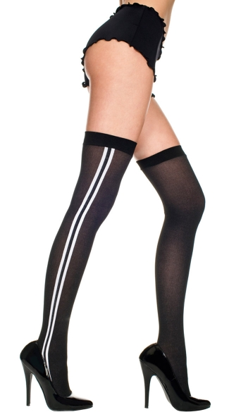 Opaque Thigh Highs with Double Stripe
