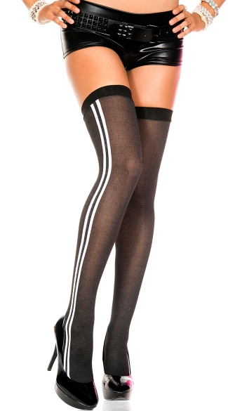 Opaque Thigh Highs with Double Stripe, Double Striped Sides Thigh Highs, Striped Thigh Highs