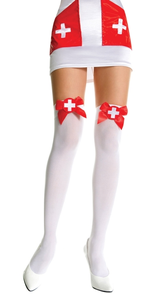 Nurse Costume Thigh Highs, Opaque Thigh Highs With Embroidered Cross on Satin Bow, Medical Cross Thigh Highs, Costume Hosiery