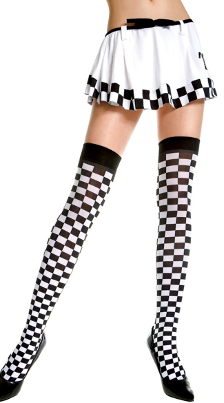 Opaque Checkered Thigh Highs, Race Car Thigh Highs, Checkered Thigh Highs with Solid Top Band