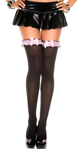 Opaque Thigh High with Garter Style Top, Opaque Thigh Highs With Ruffle Lace Top And Satin Bow