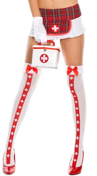 Nurse Costume Medic Thigh Highs, Opaque Thigh Hi With Cross And Ruffle Lace Top With Satin Bow, Costume Hosiery, Halloween Hosiery, Sexy Nurse Costume