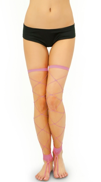 Footless Big Diamond Net Thigh Highs