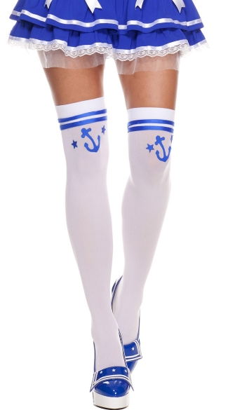 Blue Anchor Thigh Highs, Sailor Stockings, Navy Stockings