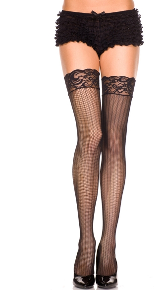Fishnet Thigh Highs with Vertical Stripes, Black Fishnet Thigh Highs with Lace Top and Vertical Stripes, Costume Hosiery