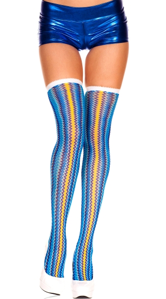 Colorful Zig Zag Stockings, Multicolor Zigzag Thigh Hi