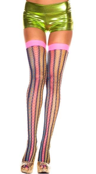 Neon Crochet Net Thigh Highs