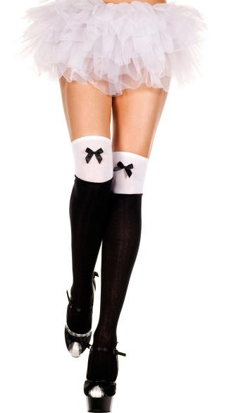 Black and White Opaque Stockings