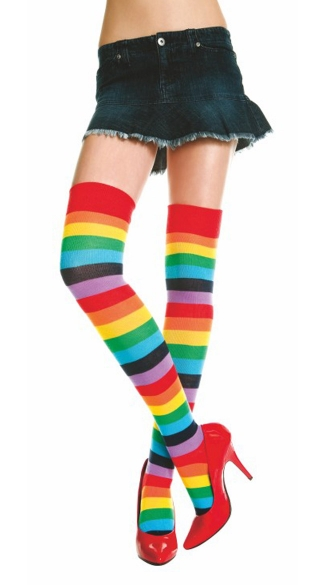 Rainbow Striped Thigh Highs, Rainbow Thigh High Socks, Rainbow Stockings