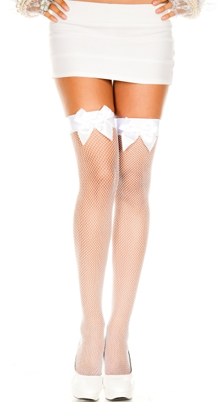 Fishnet Thigh High with Vinyl Top and Bow