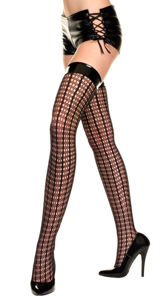 Crochet Stripes Thigh Highs with Vinyl Top, Black Crochet Thigh Highs with Black Vinyl Top, Costume Hosiery