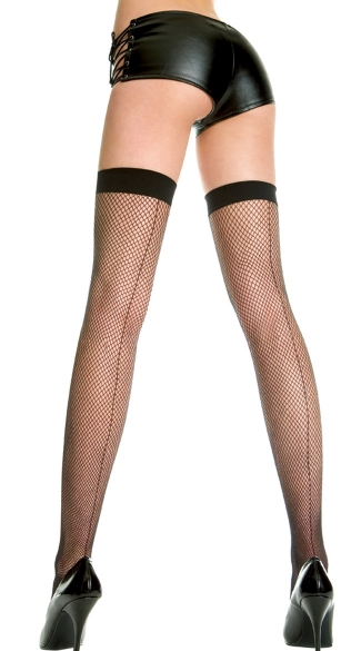 Backseam Fishnet Thigh Highs, Fishnet Thigh Highs with Backseam and Solid Top, Costume Hosiery