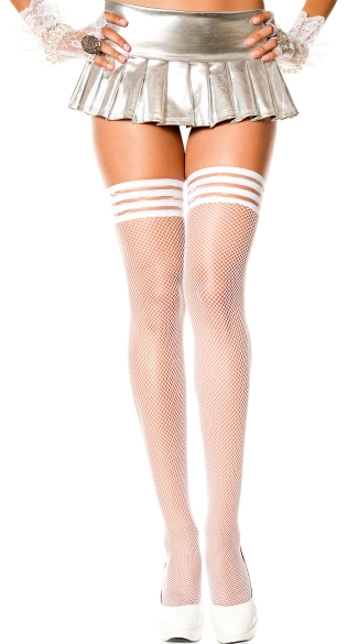 Silicon Ribbed Top Fishnet Thigh High