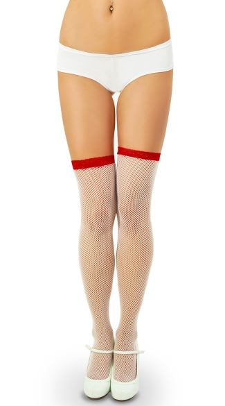 Fishnet Thigh Highs with Contrast Lace Top