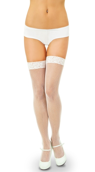 Fishnet Thigh Highs with Backseam and Lace Top