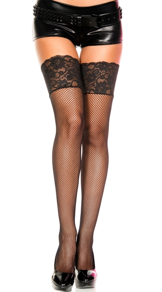 Fishnet Thigh Highs with Wide Lace Top