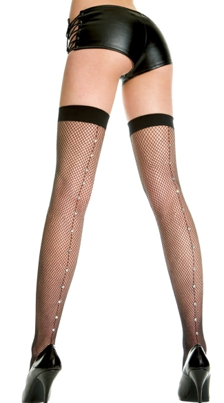Fishnet Thigh Highs with Rhinestone Backseam