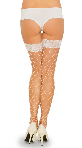 Fence Net Thigh Highs with Lace Top