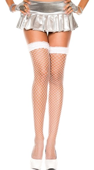 Diamond Net Thigh Highs with Ruffled Top