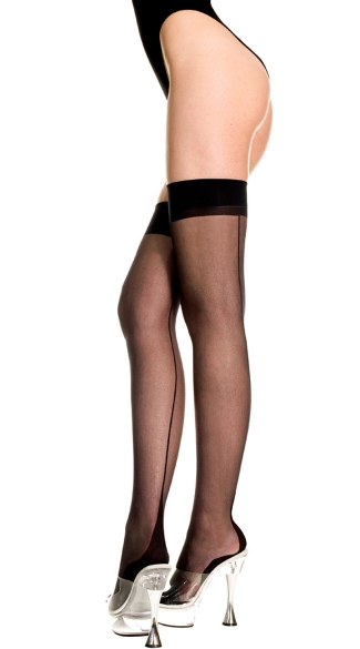 Backseam Sheer Thigh Highs with Cuban Heel, Sheer Thigh Highs, Cuban Heel Thigh Highs