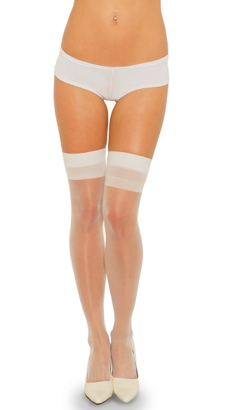 Backseam Sheer Thigh Highs with Cuban Heel