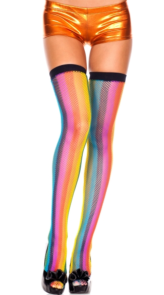 Rainbow Fishnet Stockings
