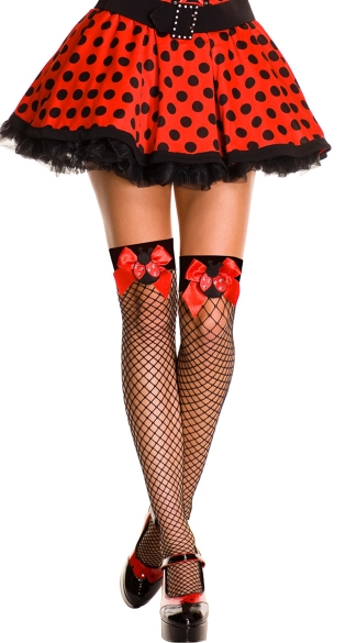 Ladybug Fishnet Thigh Highs