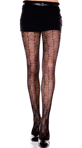 Star Print Fishnet Pantyhose, Net With Stars Patterns Spandex Pantyhose