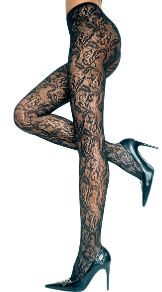Seamless Floral Lace Pantyhose, Black Lace Pantyhose, Lace Hosiery