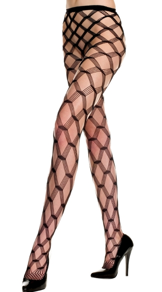 Multi Strands Diamond Net Pantyhose, Spandex Multi Strands Seamless Big Diamond Net Pantyhose, Fishnet Pantyhose