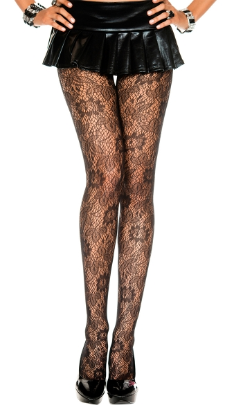 Floral Lace Netted Pantyhose, Printed Tights For Women, Fishnet Tights
