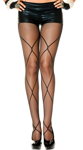 Fishnet Panythose with Diamond Net Overlay
