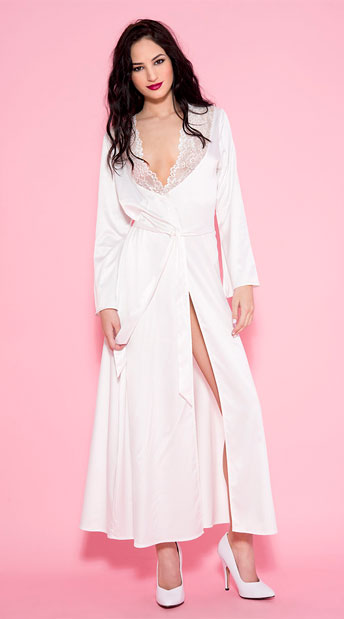 Long White Satin Robe, Long Satin Gown With Lace Trim - Yandy.com
